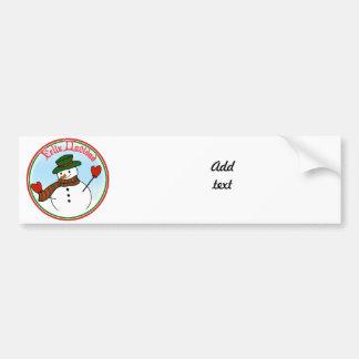 Feliz Navidad - Cartoon Snowman with Hat & Mittens Car Bumper Sticker