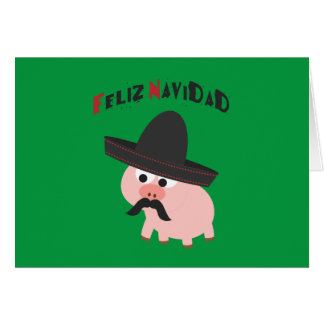 ¡Feliz Navidad! Cerdo Tarjeta Pequeña