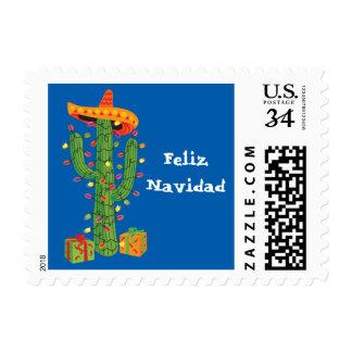 Feliz Navidad Christmas Cactus postage stamp
