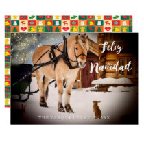 Feliz Navidad Christmas card night farm with horse