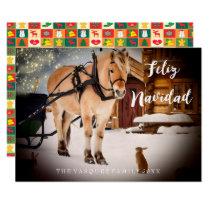 Feliz Navidad Christmas card night farm with horse