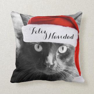 Feliz Navidad, Christmas Cat Pillow (Spanish)