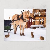 Feliz Navidad Christmas country idyll snow animals Holiday Postcard