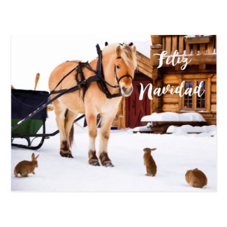 Feliz Navidad Christmas country idyll snow animals