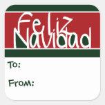 Feliz Navidad Christmas Gift Tags Stickers