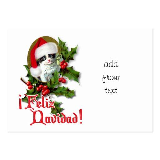 Feliz Navidad - Christmas Kitten Large Business Cards (Pack Of 100)