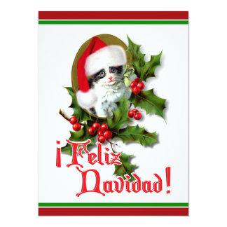 """Feliz Navidad - Christmas Kitten 5.5"""" X 7.5"""" Invitation Card"""