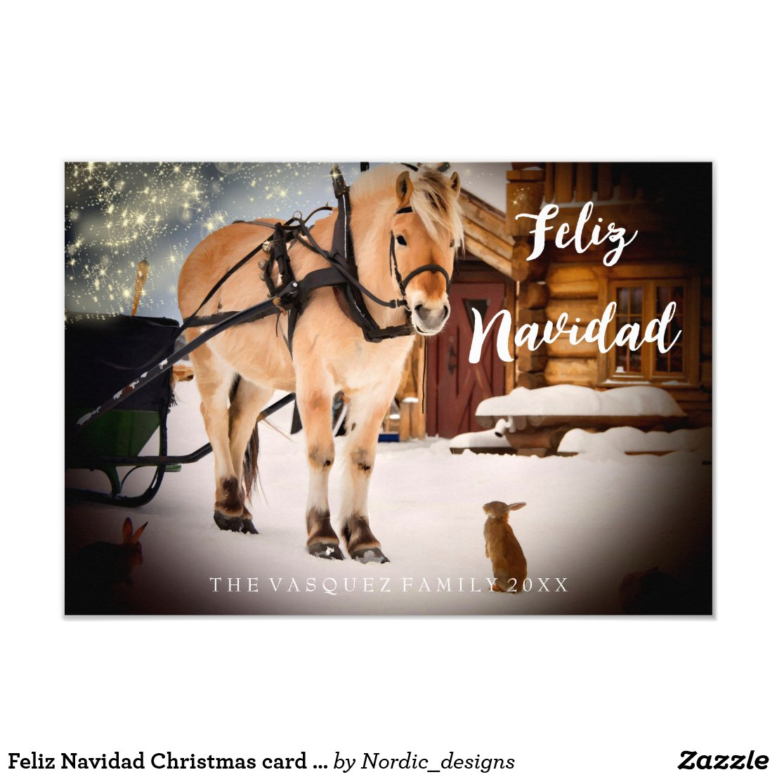 Feliz Navidad Christmas night at a farm with horse