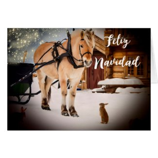 Feliz Navidad Christmas night farm with horse