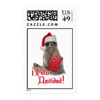 Feliz Navidad - Christmas Raccoon Bandit Postage