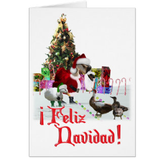 Feliz Navidad - Christmas Santa Goose w/Ducks Card