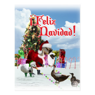Feliz Navidad - Christmas Santa Goose w/Ducks Postcard