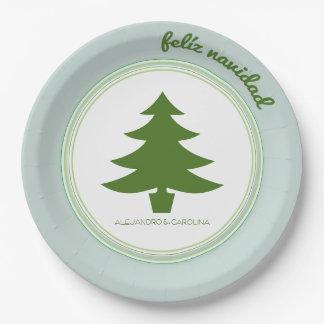 Feliz Navidad: Christmas Tree: Personalized 9 Inch Paper Plate