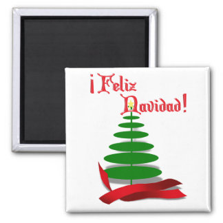 Feliz Navidad - Christmas Tree with Red Ribbon 2 Inch Square Magnet
