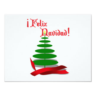 Feliz Navidad - Christmas Tree with Red Ribbon Announcement