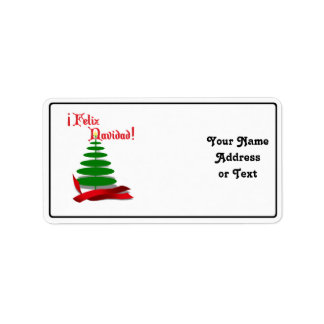 Feliz Navidad - Christmas Tree with Red Ribbon Personalized Address Labels
