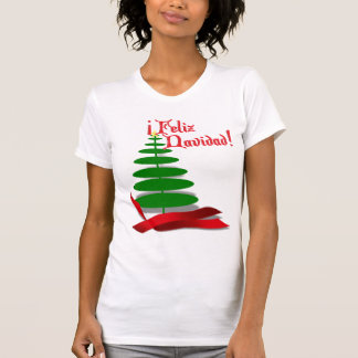 Feliz Navidad - Christmas Tree with Red Ribbon T-Shirt
