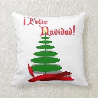Feliz Navidad - Christmas Tree with Red Ribbon Throw Pillow