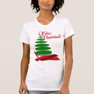 Feliz Navidad - Christmas Tree with Red Ribbon Tee Shirts