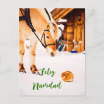 Feliz Navidad Christmas with farm animals in snow Holiday Postcard