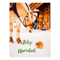 Feliz Navidad Christmas with farm animals in snow Postcard