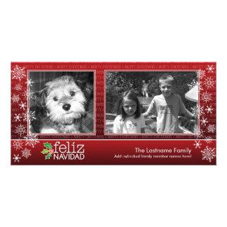 Feliz Navidad - collage de 2 fotos Tarjeta Fotografica Personalizada