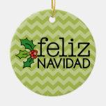 Feliz Navidad con los galones verdes Adorno Navideño Redondo De Cerámica