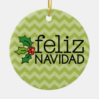 Feliz Navidad con los galones verdes Adorno Redondo De Cerámica