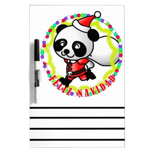 Feliz Navidad - Cute Cartoon Panda Bear Santa Dry-Erase Boards