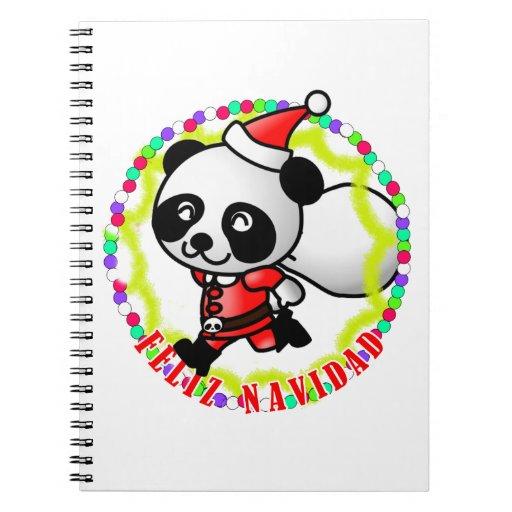 Feliz Navidad - Cute Cartoon Panda Bear Santa Notebooks