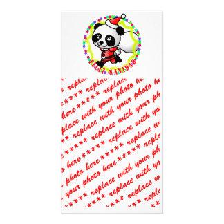 Feliz Navidad - Cute Cartoon Panda Bear Santa Picture Card