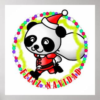 Feliz Navidad - Cute Cartoon Panda Bear Santa Posters