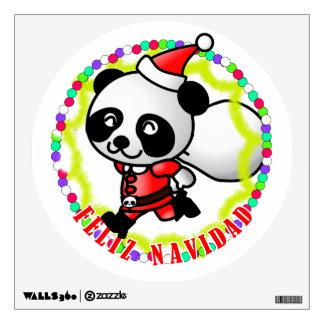 Feliz Navidad - Cute Cartoon Panda Bear Santa Wall Graphic
