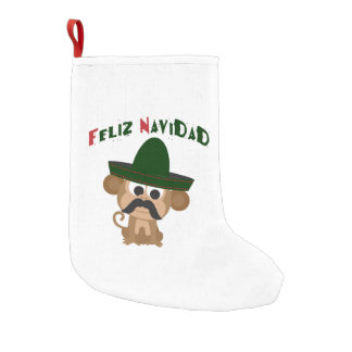 Feliz Navidad! Cute monkey Small Christmas Stocking
