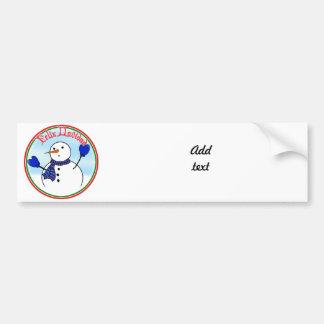 Feliz Navidad - Cute Snowman With Blue Mittens Car Bumper Sticker