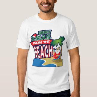 FELIZ Navidad de la camiseta de la PLAYA Camisas
