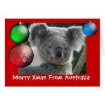 Feliz Navidad de la tarjeta de la koala de Austral
