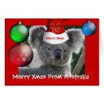 Feliz Navidad de la tarjeta del gorra de la koala