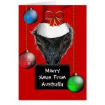 Feliz Navidad de la tarjeta del gorra del Emu de A