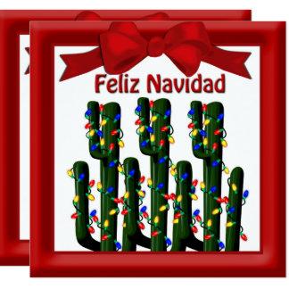 Feliz Navidad Desert Christmas Cactus Greeting Card
