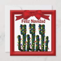Feliz Navidad Desert Christmas Cactus Greeting Holiday Card