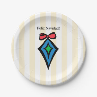 Feliz Navidad Diamond Ornament Paper Plate Yellow