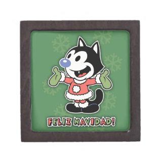 Feliz Navidad el gato Cajas De Regalo De Calidad