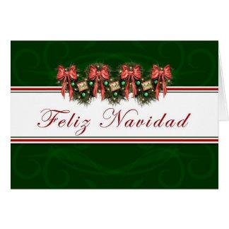 Feliz Navidad - el rojo español de la guirnalda Tarjeta De Felicitación