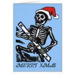 Feliz Navidad esquelética de Santa Tarjeta De Felicitación