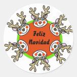 Feliz Navidad Etiquetas Redondas
