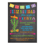 Feliz navidad Fiesta Cactus on Chalkboard 5x7 Paper Invitation Card