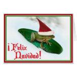 Feliz Navidad - Frog Dashing Through the Snow Greeting Card