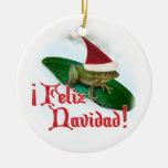 Feliz Navidad - Frog Dashing Through the Snow Christmas Tree Ornaments