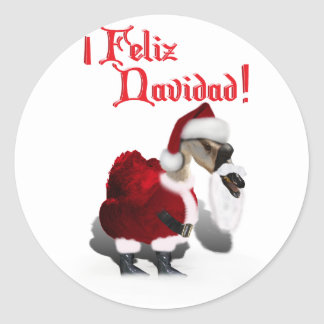 Feliz Navidad - ganso tonto de Santa Pegatinas Redondas
